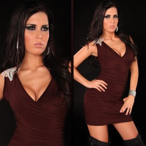 Mini robe marron décolleté plongeant bretelle bijou strass