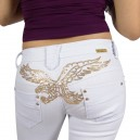 Jeans Fashion Miss RJ blanc, slim broderie paillettes or