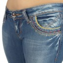 Jeans Fashion used Alicia, galon et surpiquages dorés clous et strass