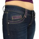 Jeans Fashion Alicia, Bleu et violet, surpiquages 2 tons, strass et clou