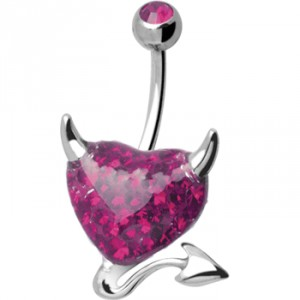 Piercing nombril acier chirurgical Crystal Evolution Devil Heart Fuschia glossy