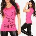 Tshirt fuchsia avec motif smiley et message