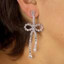 Boucle d'oreilles fashion et sexy motif noeud en strass