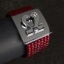 Large bracelet en strass carrés rouge, fermeture coeur métal et strass