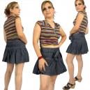Mini jupe plissée sexy, ceinture nouée
