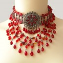 Collier tour de cou hyper sexy marquise perles toupies rouge et strass