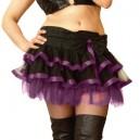 Micro jupe hyper sexy noir et violet flot, ruban satiné et voile